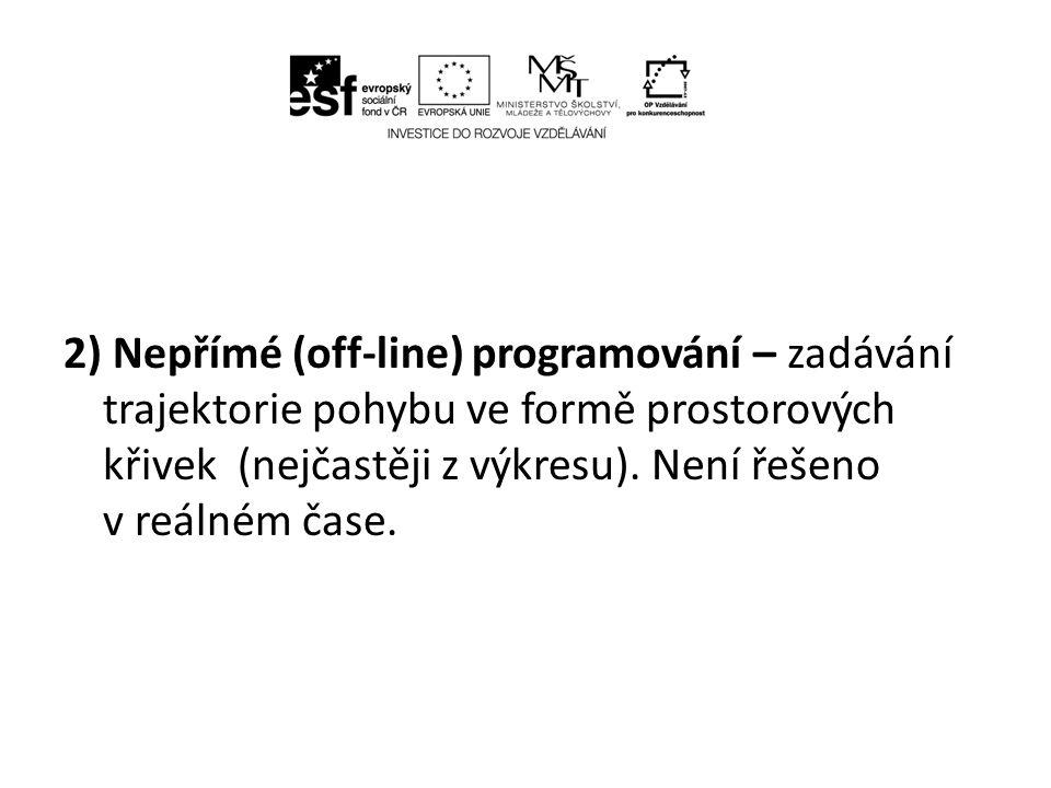 2) Nepřímé (off-line) programování – zadávání trajektorie pohybu ve formě prostorových křivek (nejčastěji z výkresu).