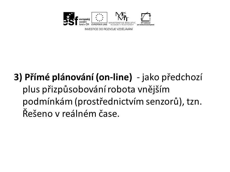 3) Přímé plánování (on-line) - jako předchozí plus přizpůsobování robota vnějším podmínkám (prostřednictvím senzorů), tzn.