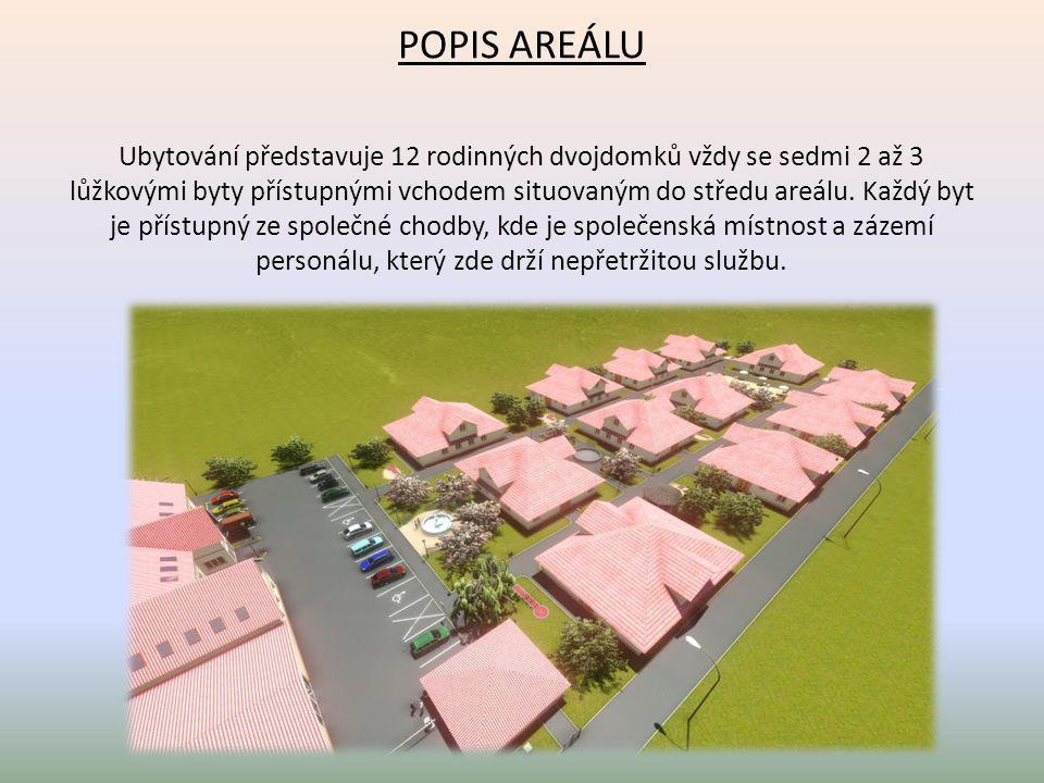 POPIS AREÁLU Ubytování představuje 12 rodinných dvojdomků vždy se sedmi 2 až 3 lůžkovými byty přístupnými vchodem situovaným do středu areálu.