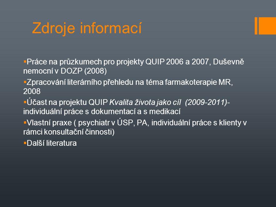 Zdroje informací Práce na průzkumech pro projekty QUIP 2006 a 2007, Duševně nemocní v DOZP (2008)