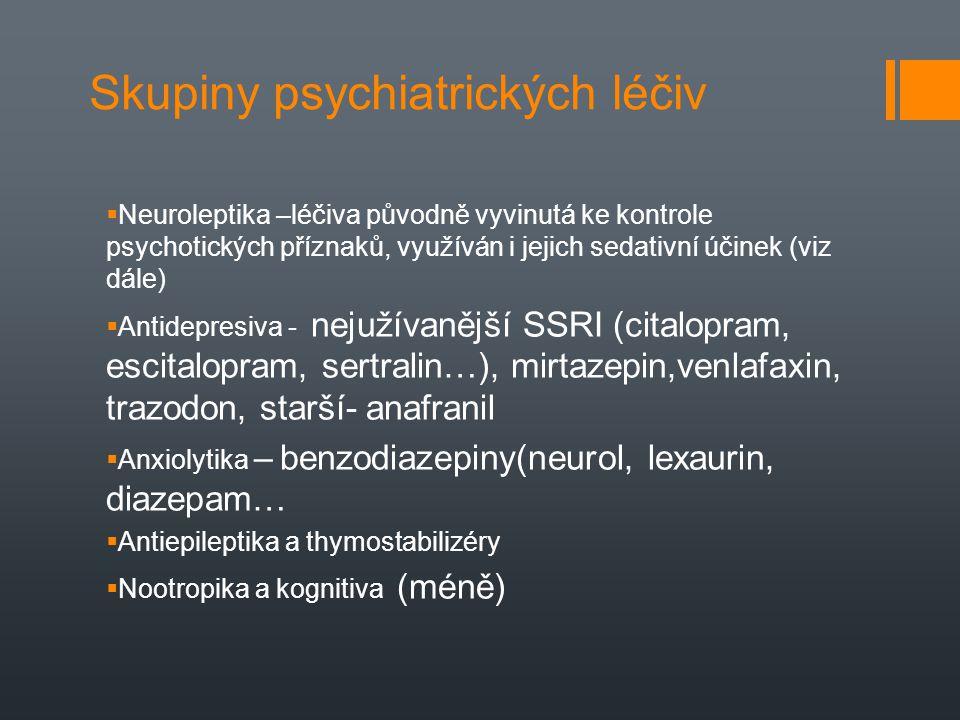 Skupiny psychiatrických léčiv