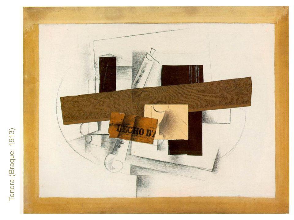 Tenora (Braque; 1913) Čistý příklad rané kubistické koláže.