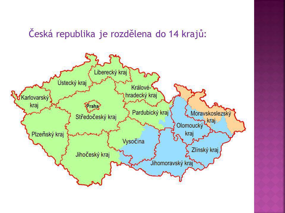 Česká republika je rozdělena do 14 krajů: