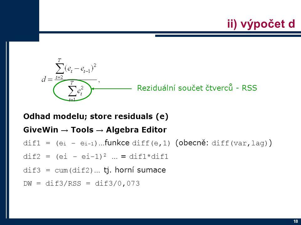 ii) výpočet d Reziduální součet čtverců - RSS