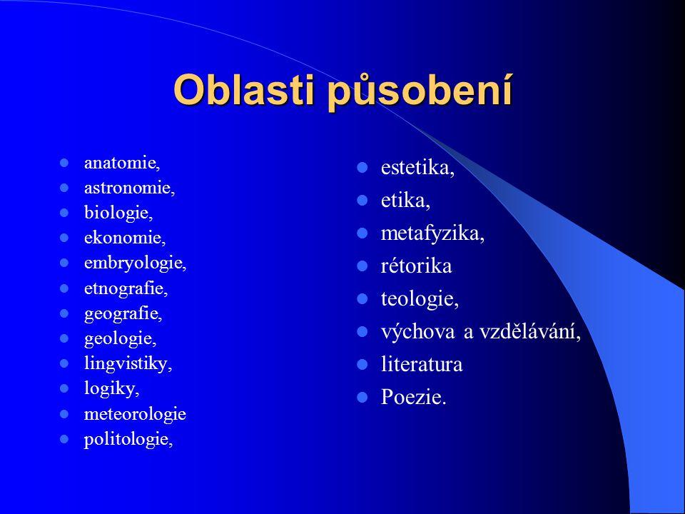 Oblasti působení estetika, etika, metafyzika, rétorika teologie,