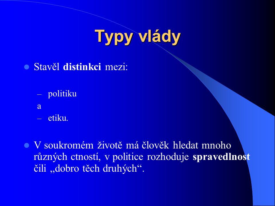 Typy vlády Stavěl distinkci mezi: