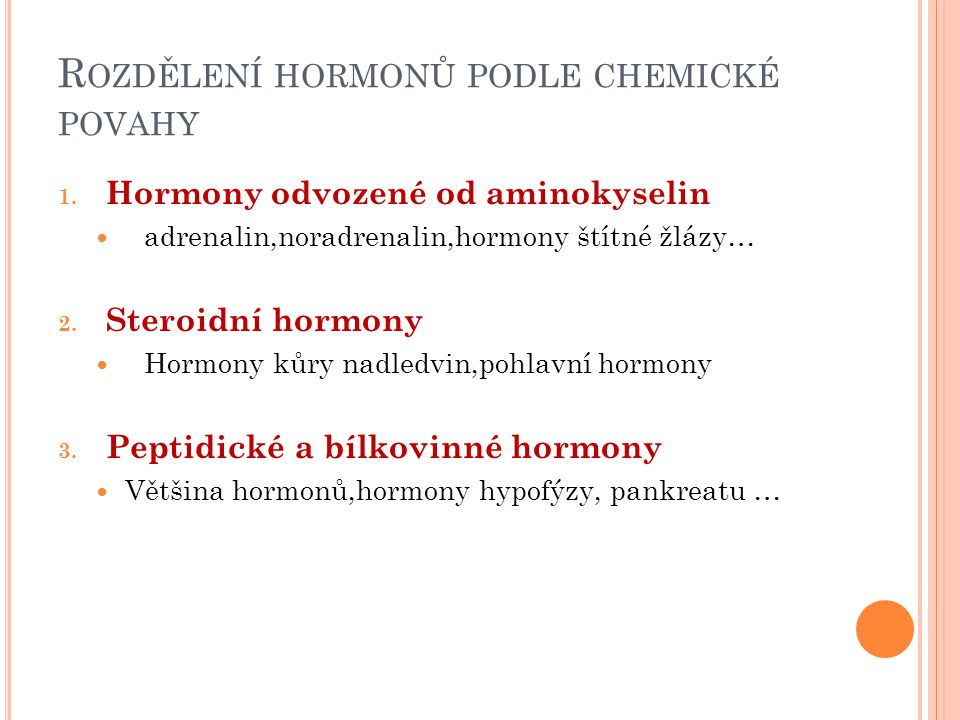 Rozdělení hormonů podle chemické povahy