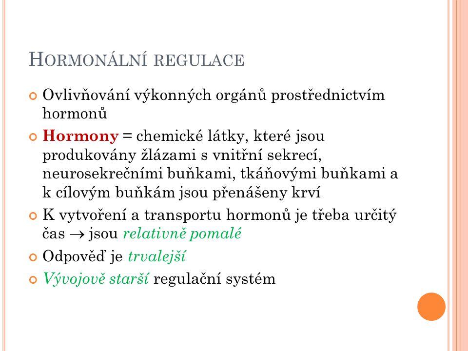 Hormonální regulace Ovlivňování výkonných orgánů prostřednictvím hormonů.