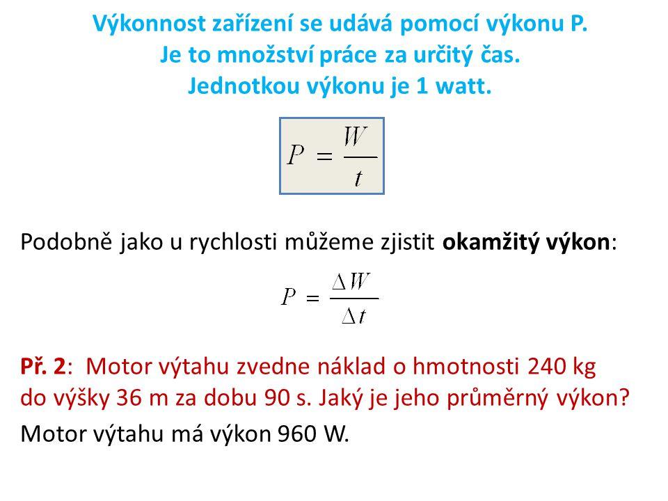 Výkonnost zařízení se udává pomocí výkonu P