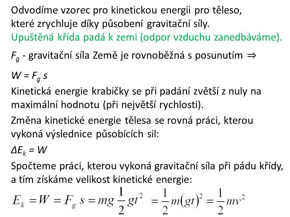 Odvodíme vzorec pro kinetickou energii pro těleso, které zrychluje díky působení gravitační síly.