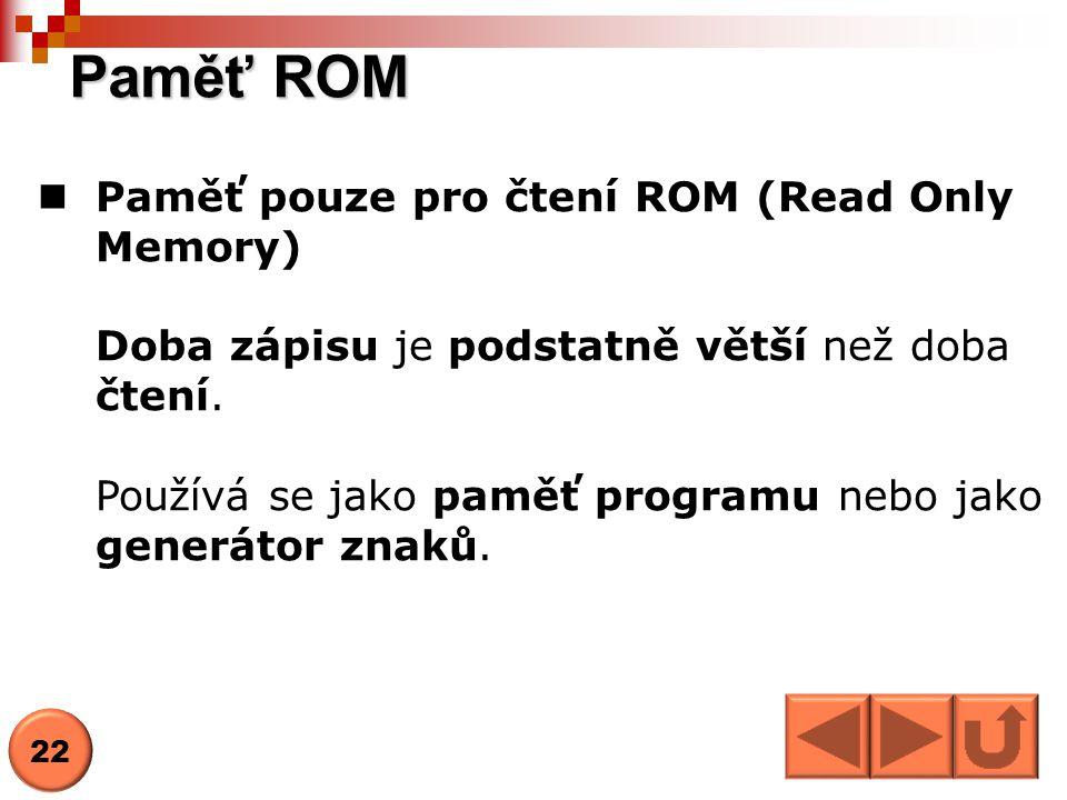 Paměť ROM Paměť pouze pro čtení ROM (Read Only Memory)