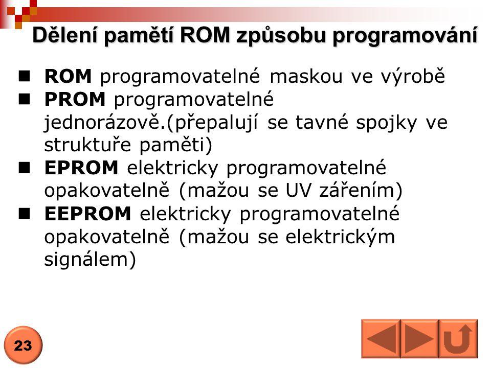 Dělení pamětí ROM způsobu programování