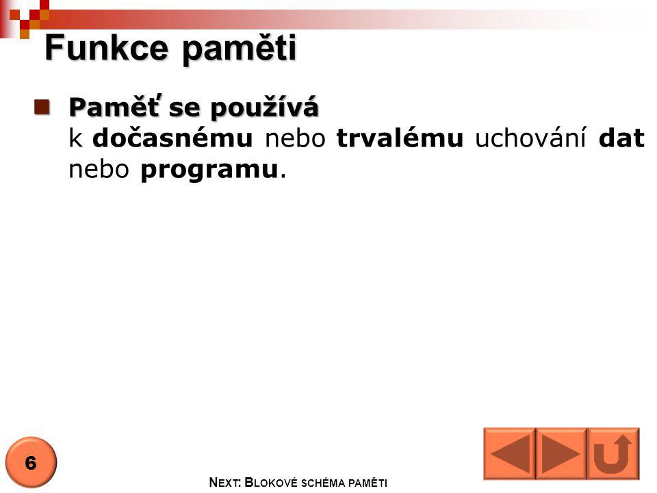 Next: Blokové schéma paměti