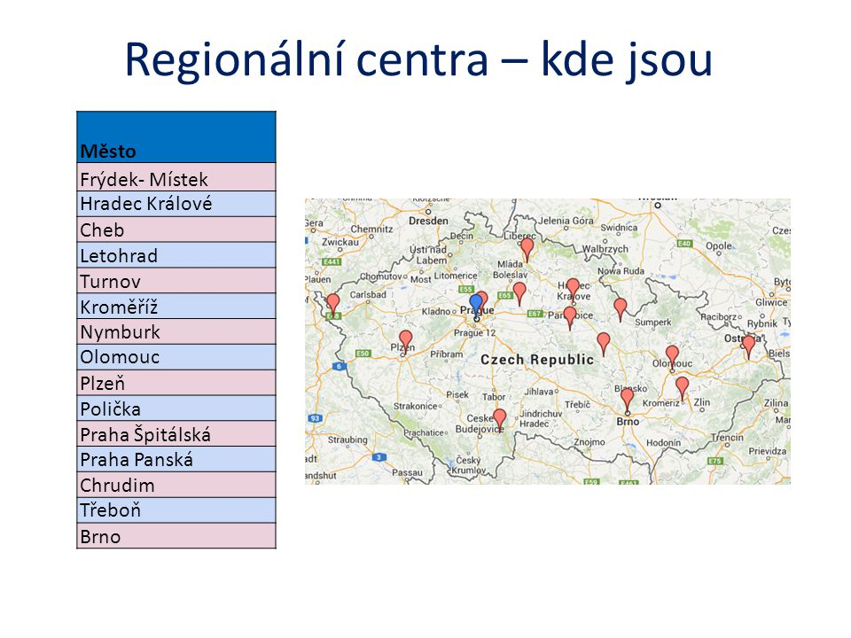 Regionální centra – kde jsou