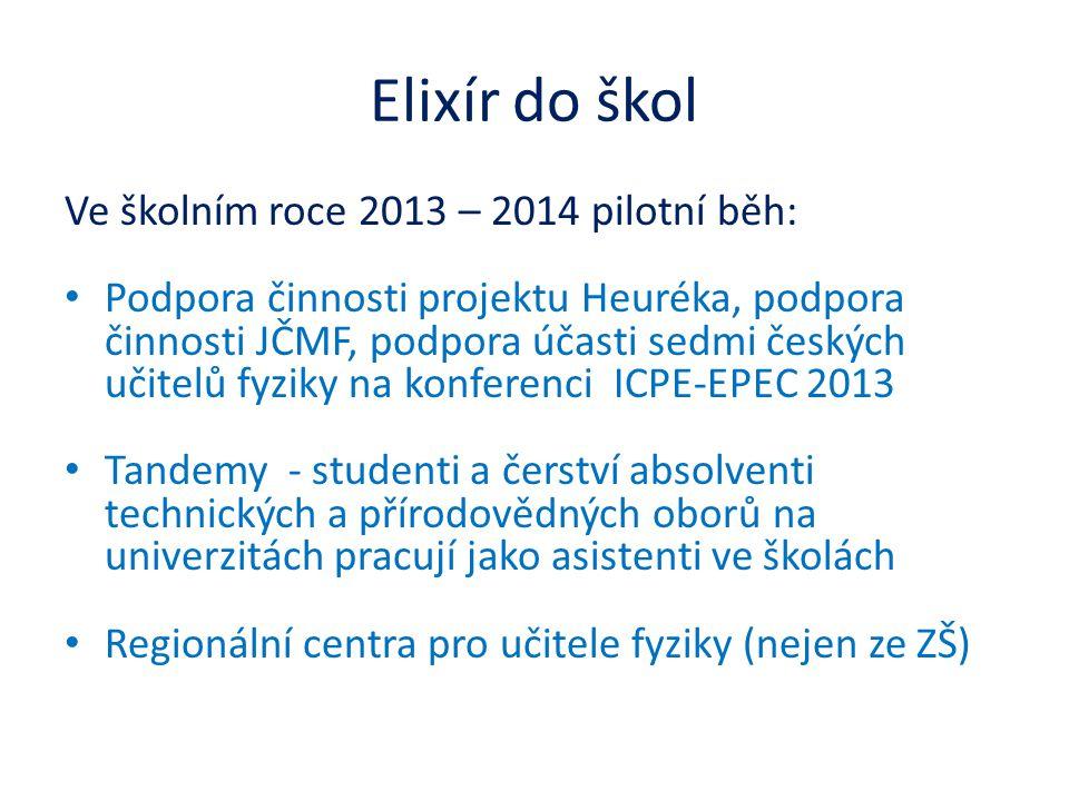 Elixír do škol Ve školním roce 2013 – 2014 pilotní běh: