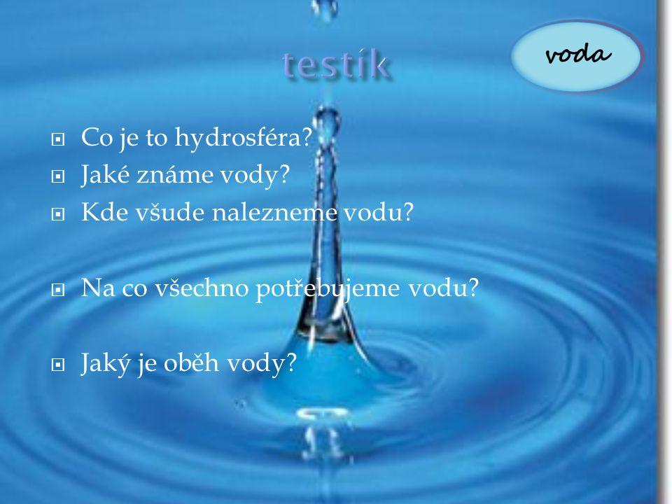 testík Co je to hydrosféra Jaké známe vody Kde všude nalezneme vodu
