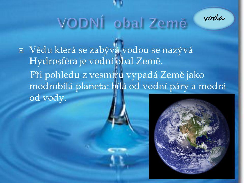 VODNÍ obal Země Vědu která se zabývá vodou se nazývá Hydrosféra je vodní obal Země.