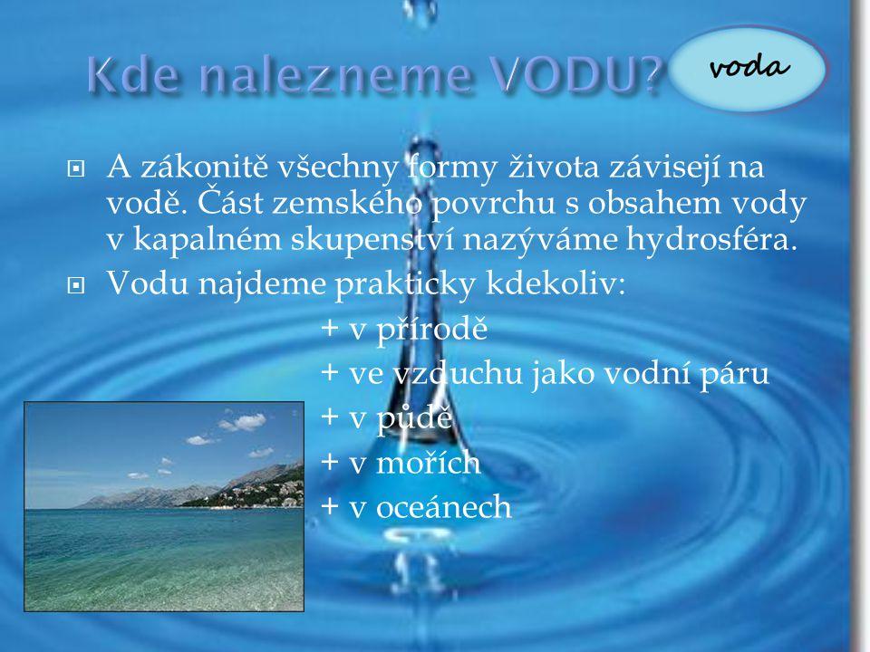 Kde nalezneme VODU A zákonitě všechny formy života závisejí na vodě. Část zemského povrchu s obsahem vody v kapalném skupenství nazýváme hydrosféra.