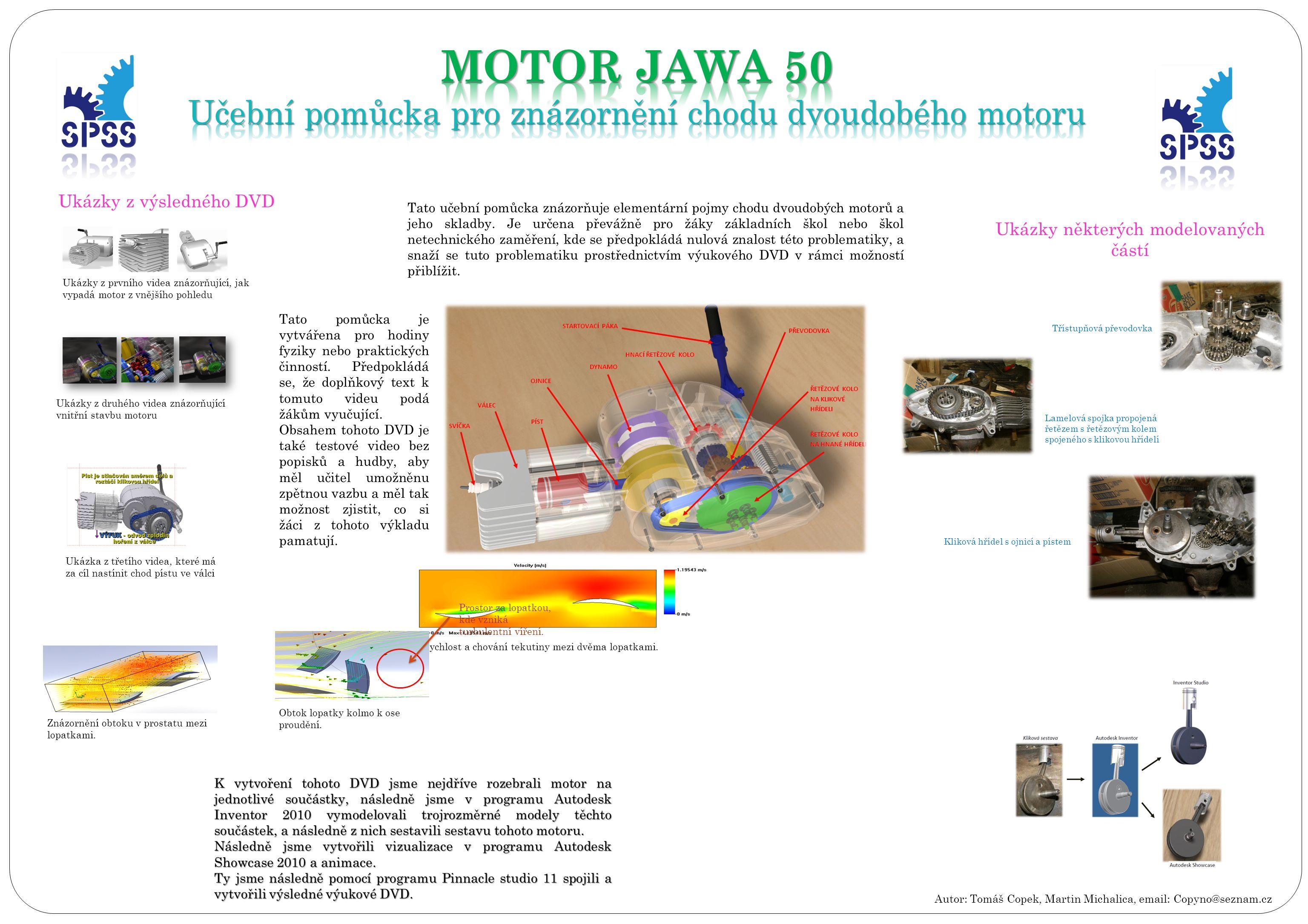 MOTOR JAWA 50 Učební pomůcka pro znázornění chodu dvoudobého motoru