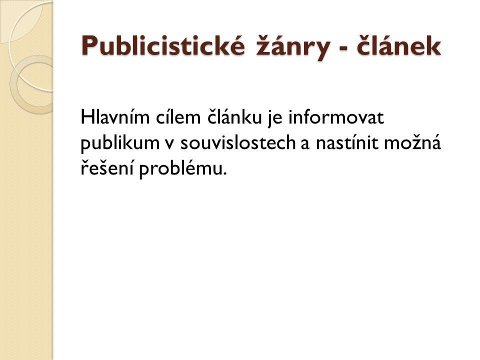 Publicistické žánry - článek