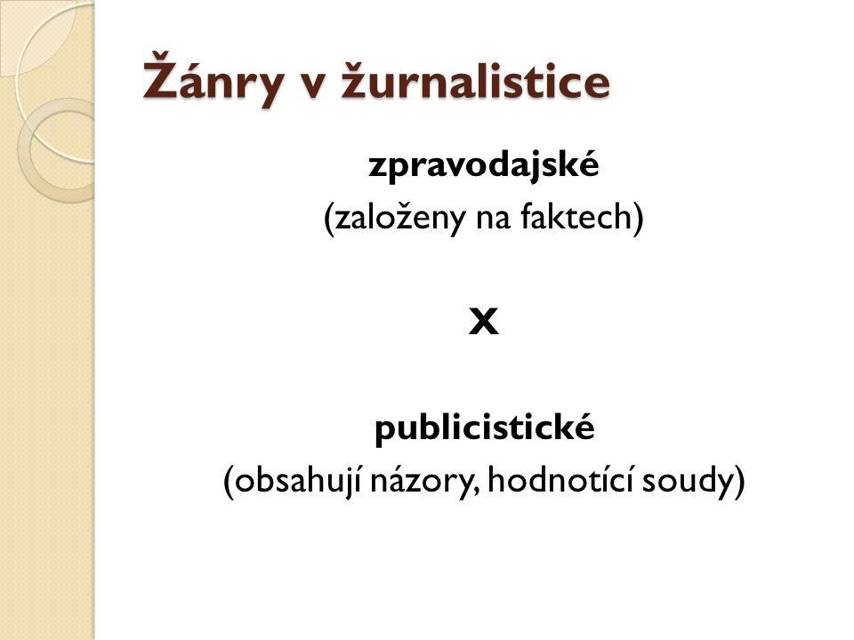 Žánry v žurnalistice zpravodajské (založeny na faktech) X publicistické (obsahují názory, hodnotící soudy)
