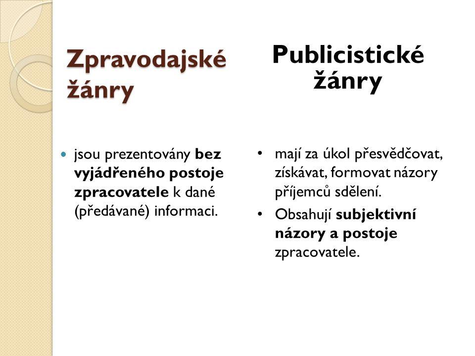 Publicistické žánry Zpravodajské žánry