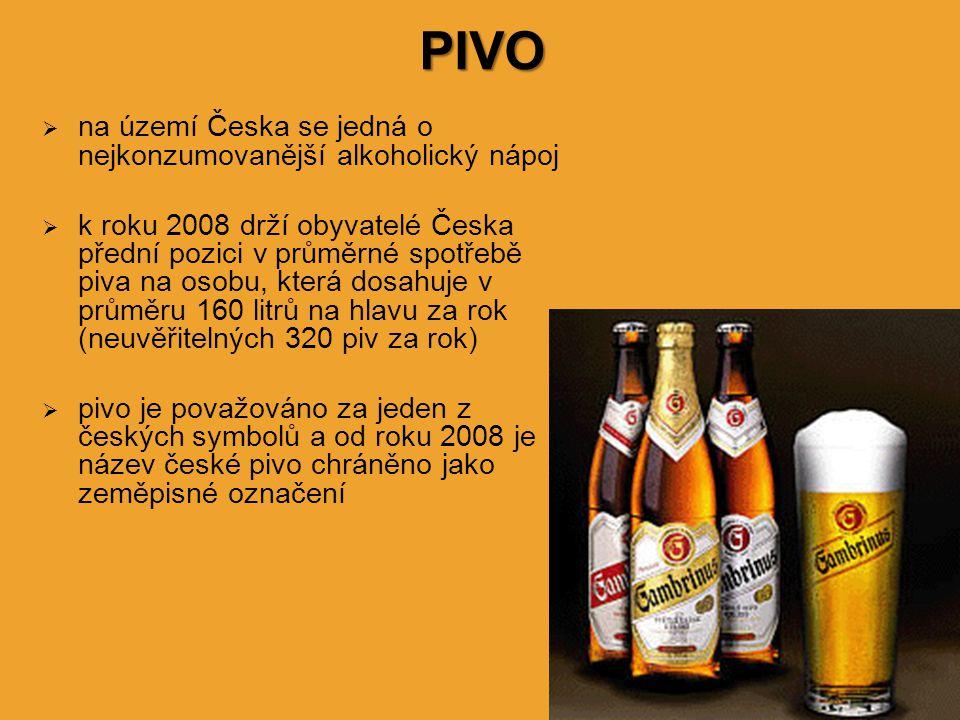 PIVO na území Česka se jedná o nejkonzumovanější alkoholický nápoj