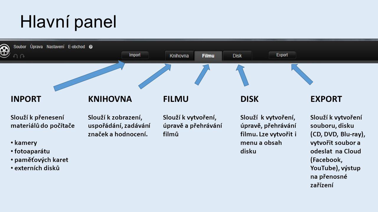 Hlavní panel INPORT KNIHOVNA FILMU DISK EXPORT