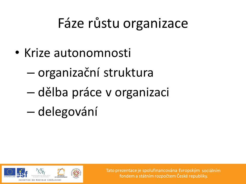 Fáze růstu organizace Krize autonomnosti organizační struktura