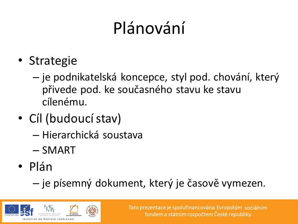 Plánování Strategie Cíl (budoucí stav) Plán