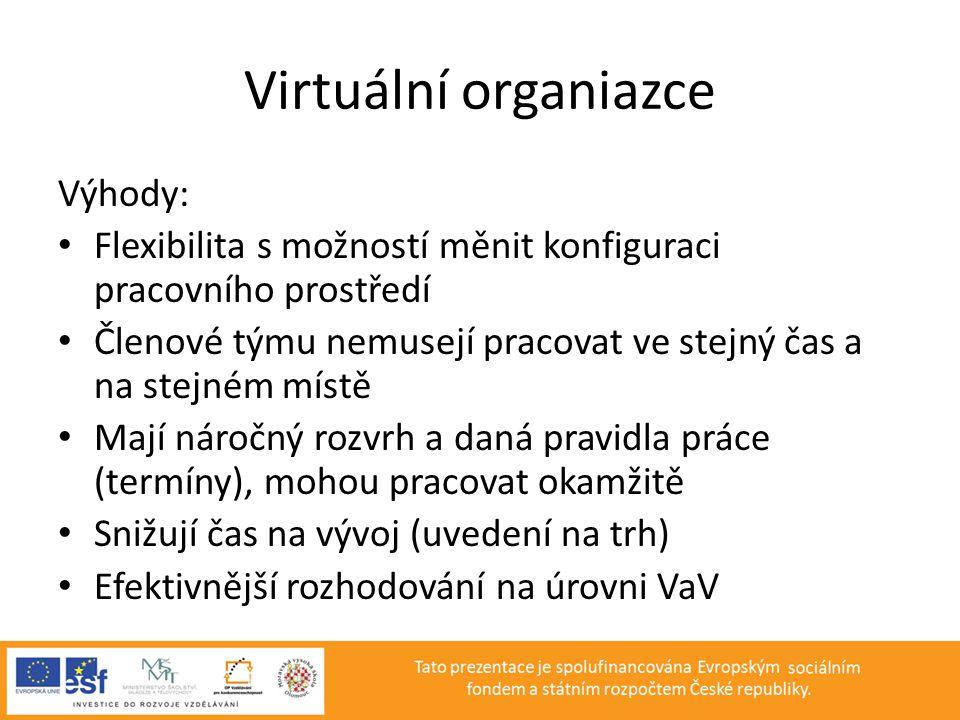 Virtuální organiazce Výhody: