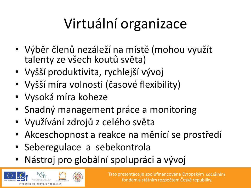 Virtuální organizace Výběr členů nezáleží na místě (mohou využít talenty ze všech koutů světa) Vyšší produktivita, rychlejší vývoj.