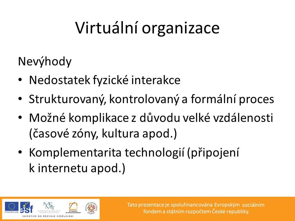 Virtuální organizace Nevýhody Nedostatek fyzické interakce