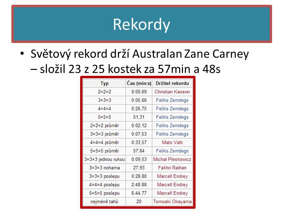Rekordy Světový rekord drží Australan Zane Carney – složil 23 z 25 kostek za 57min a 48s