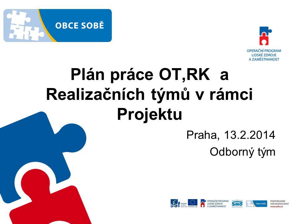 Plán práce OT,RK a Realizačních týmů v rámci Projektu
