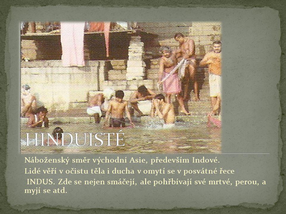 HINDUISTÉ Náboženský směr východní Asie, především Indové.