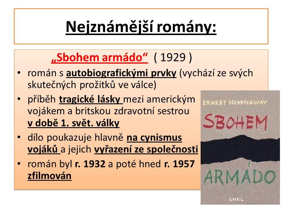 """Nejznámější romány: """"Sbohem armádo ( 1929 )"""