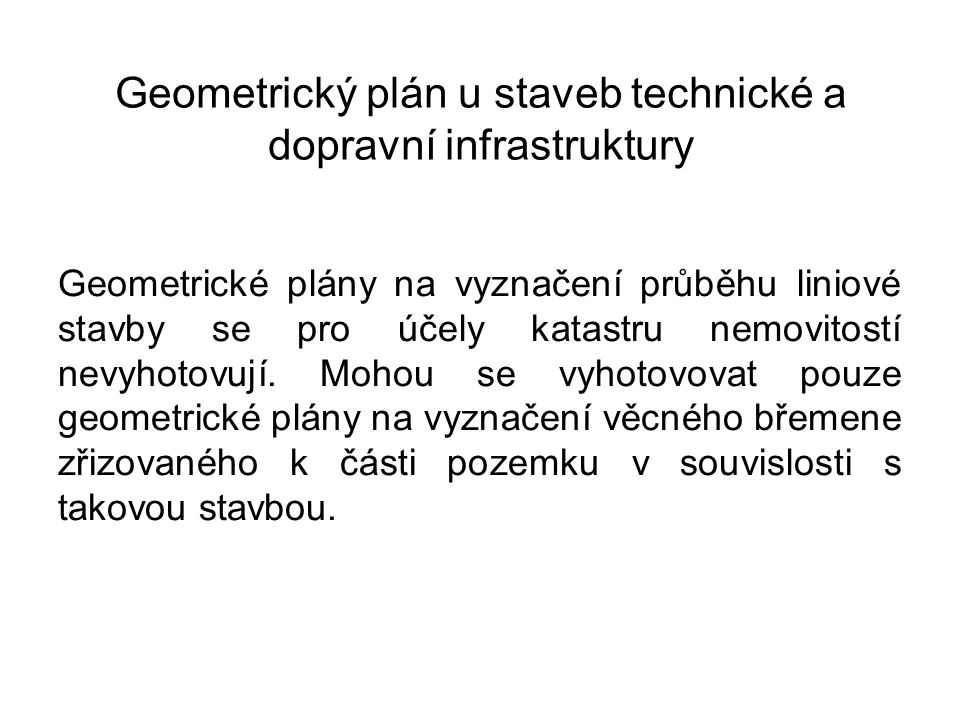 Geometrický plán u staveb technické a dopravní infrastruktury
