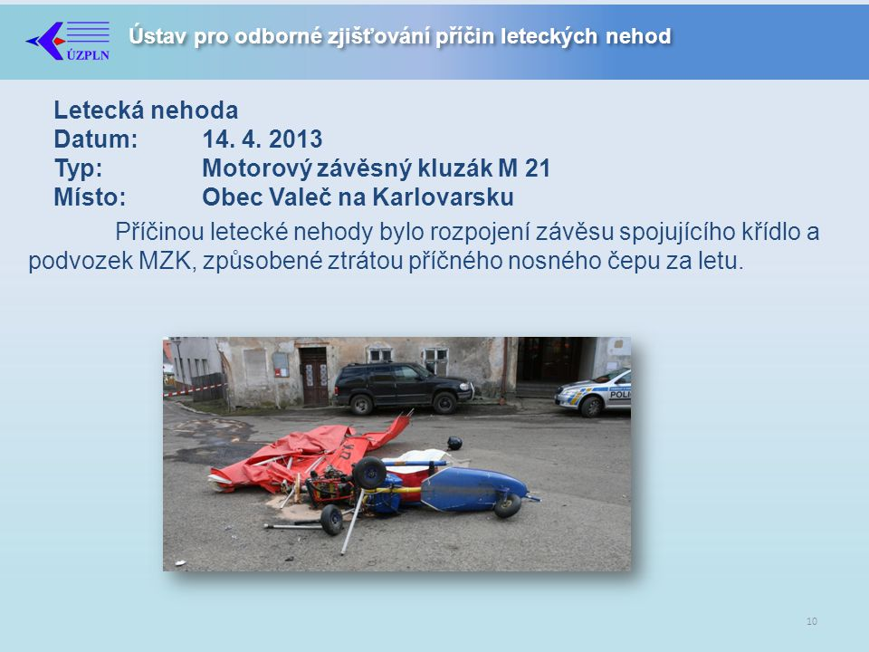 Letecká nehoda Datum:. 14. 4. 2013 Typ: