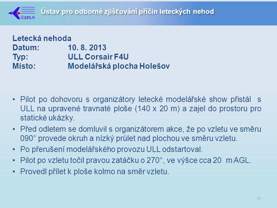 Letecká nehoda Datum:. 10. 8. 2013 Typ:. ULL Corsair F4U Místo: