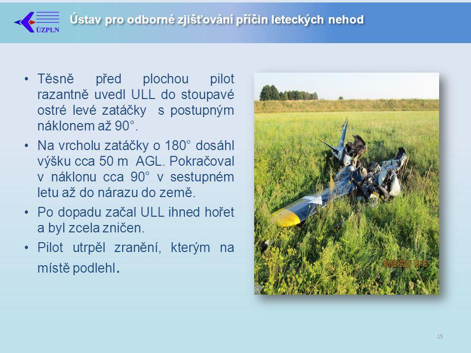 Těsně před plochou pilot razantně uvedl ULL do stoupavé ostré levé zatáčky s postupným náklonem až 90°.