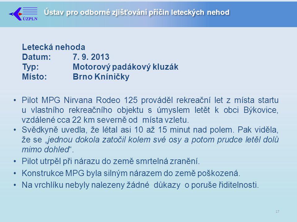 Letecká nehoda Datum: 7. 9. 2013 Typ: Motorový padákový kluzák Místo: Brno Kníničky