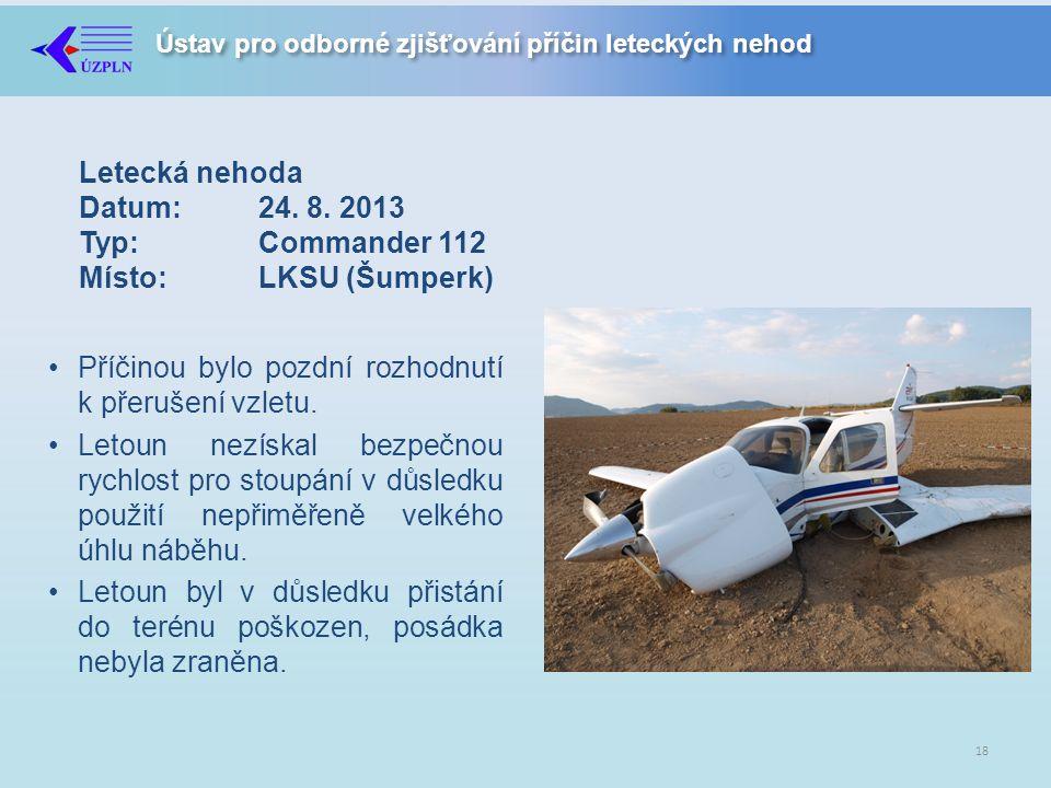 Letecká nehoda Datum:. 24. 8. 2013 Typ:. Commander 112 Místo: