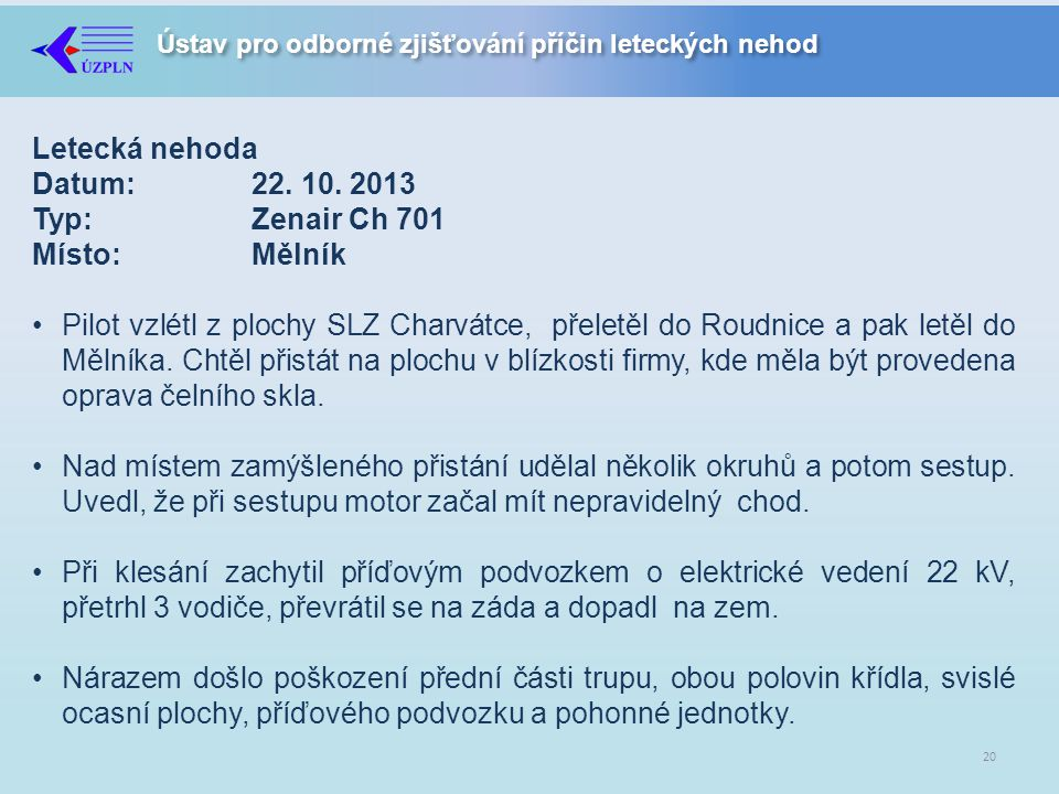 Letecká nehoda Datum: 22. 10. 2013 Typ: Zenair Ch 701 Místo: Mělník