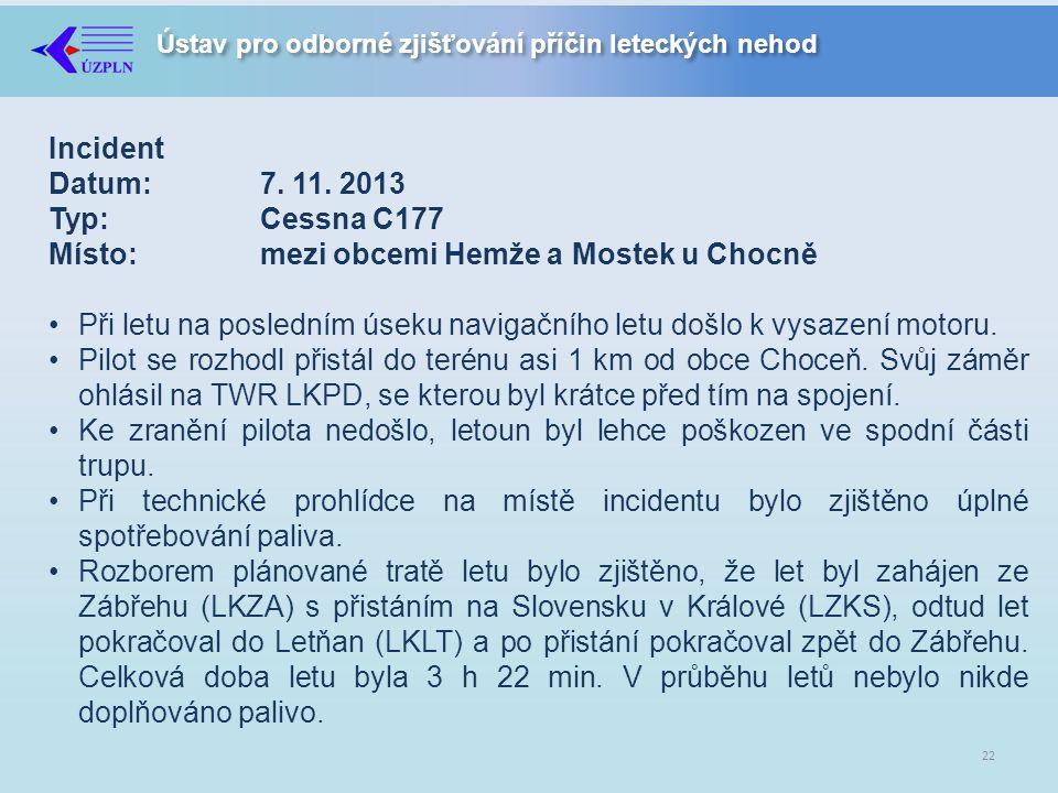 Incident Datum:. 7. 11. 2013 Typ:. Cessna C177 Místo: