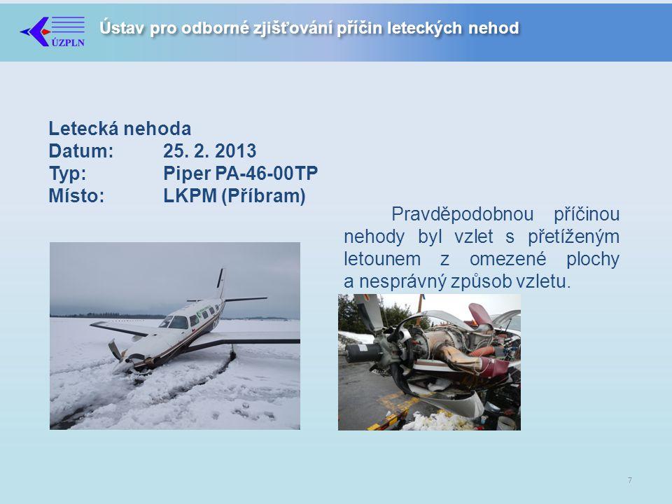 Letecká nehoda Datum:. 25. 2. 2013 Typ:. Piper PA-46-00TP Místo: