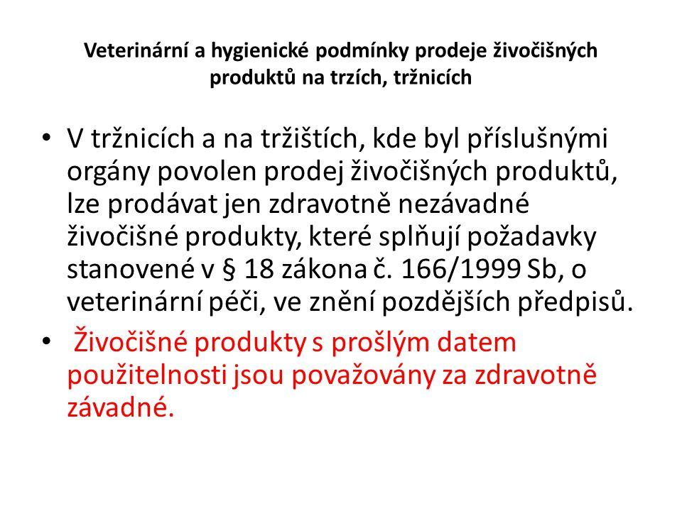Veterinární a hygienické podmínky prodeje živočišných produktů na trzích, tržnicích