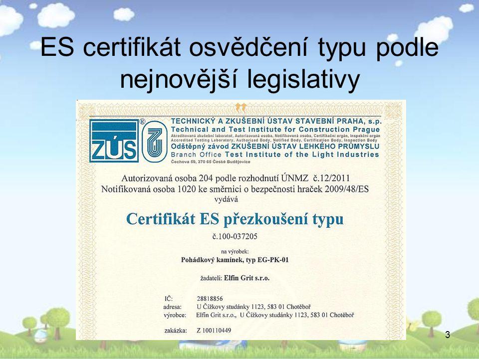 ES certifikát osvědčení typu podle nejnovější legislativy
