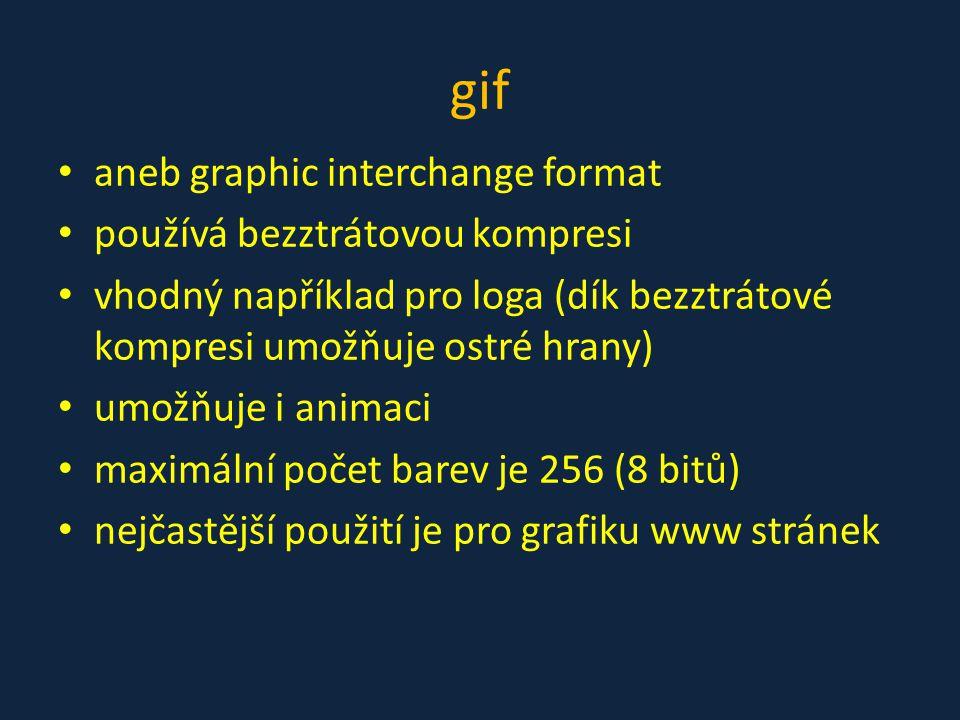 gif aneb graphic interchange format používá bezztrátovou kompresi