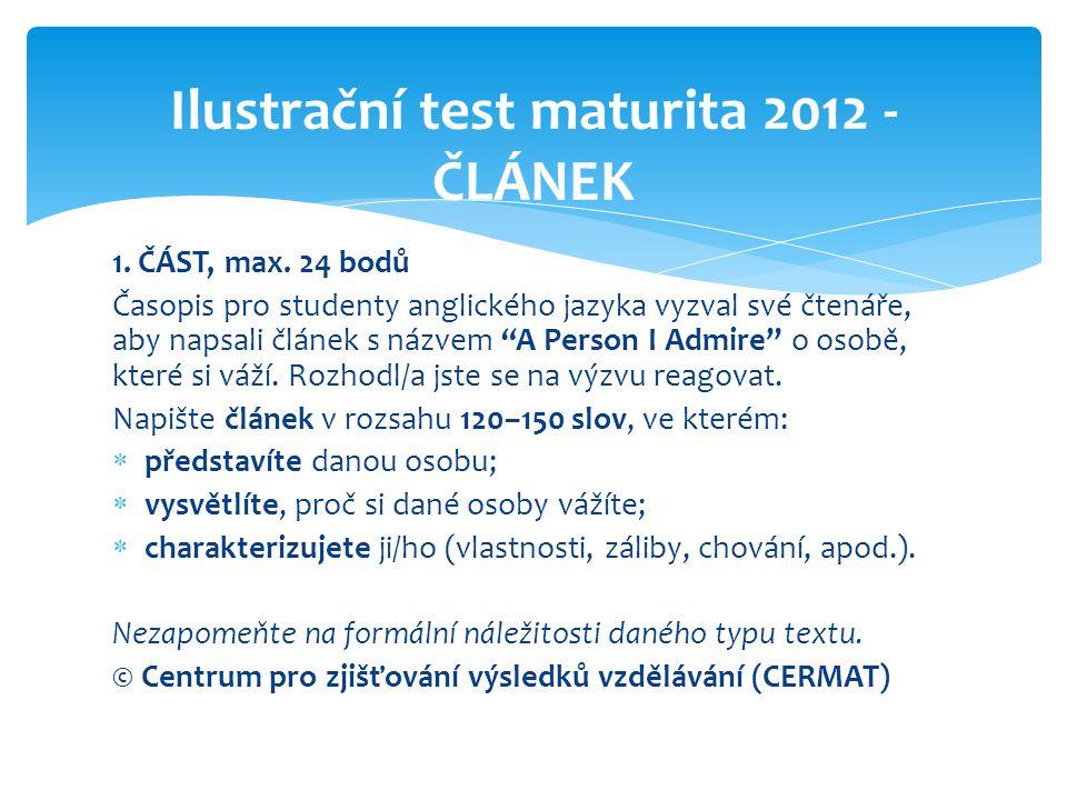 Ilustrační test maturita 2012 - ČLÁNEK
